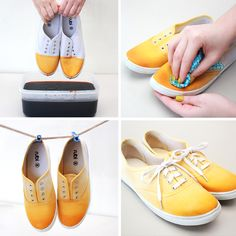 Dip-Dye Tennis Shoes | 10 DIY Ways to Revamp Your Sneakers | http://www.hercampus.com/style/10-diy-ways-revamp-your-sneakers