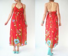 Vintage 70's Bright Red Floral Backless Maxi Dress by viralthreads