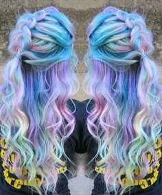 Pastel purple rainbow dyed hair @singi.vo.peters                                                                                                                                                                                 More