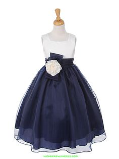 Navy / Ivory Satin Bodice with Colored Organza Skirt Girl Dress