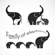 Vector image of family elephants by @Graphicsauthor