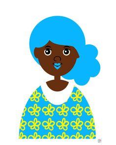 Girl 13 Art Print (Blue Hair Mermaid African American Girl) by Tabitha Brown