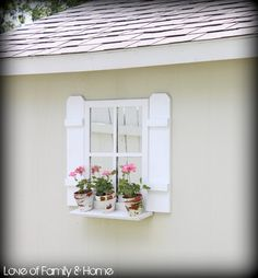 Idea for wall outside guest room.Easy DIY Faux Window and Shutters at loveoffamilyandho. Diy Shutters, Window Shutters, Shed Windows, Faux Window, Window Mirror, Garden Gazebo, Garden Sheds, Old Fences, Outdoor Sheds