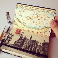 Sketch journal, journal pages, art sketchbook, travel sketchbook, art journ Album Journal, Scrapbook Journal, Travel Scrapbook, Journal Pages, Sketch Journal, Voyage Sketchbook, Travel Sketchbook, Art Sketchbook, Fashion Sketchbook