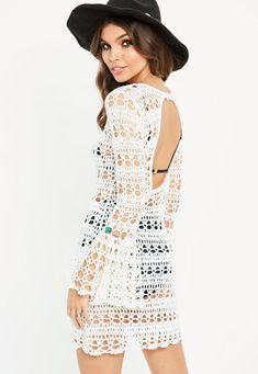 White Flare Sleeve Backless Knitted Crochet Dress | Missguided