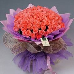 Happy happy  99 pink roses, purpel and pink package.Show your true love to her.