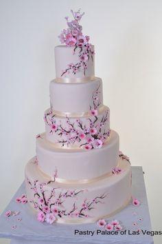 Beautiful cherry blossom wedding cake (: