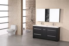 "Double Sink Mirror Designs | Perfecta 63"" Espresso Finish Double Sink Vanity Set Thumbnail Image"