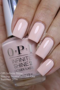 opi infinite shine Staying Neutral on This One is a sweet whisper pink.
