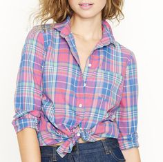 J CREW Boy Shirt Madras Check Blouse Blue Pink Green Tartan Folly Beach Plaid 4 #JCrew #ButtonDownShirt #Casual