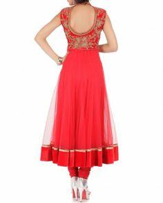 Strawberry Pink Anarkali Suit - back