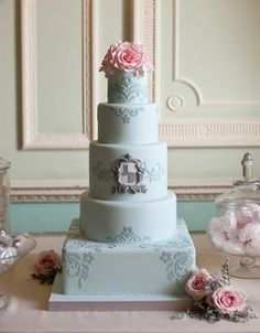 Damask Applique and Monogram Cake