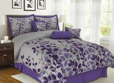 7Pcs King Fresca Purple and Gray Bedding Comforter Set *** BEST VALUE BUY on Amazon