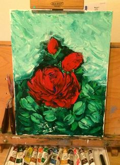 Painted with a palette knife