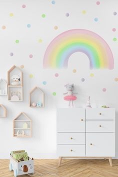 Brighten your kids room or nursery with these wonderful pastel rainbow and polka dots wall decals. Wall decals are made from my original illustrations and printed on PVC free polyester textile.
