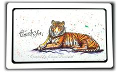 CAS flat card using sheena Douglass taste of india tiger stamp and inktense pencils.
