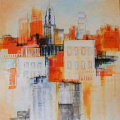 """""""Impressions 1"""" by Shazia Imran - acrylic, collage and mixed media on stretched canvas."""