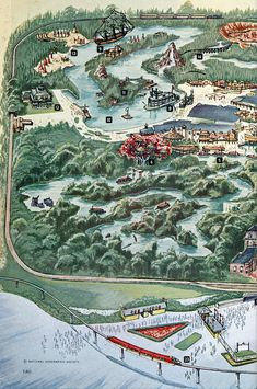 """Panel 1 from a Disneyland map from the Aug 1963 National Geographic feature article """"The Magic Worlds of Walt Disney"""" Disneyland History, Disneyland World, Disneyland Tickets, Vintage Disneyland, Tokyo Disneyland, Disneyland Resort, Walt Disney Co, Disney Love, Disney Magic"""