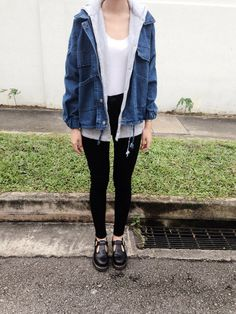GRUNGE black jeans, white tee, oversized jean jacket, mary janes