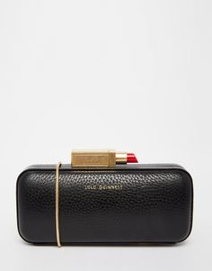 Image 1 of Lulu Guinness Carrie Box Clutch With Lipstick Fastening