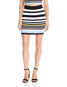 BCBGeneration Women's Striped Rib Mini Skirt,Color: Black Combo,49% Cotton, 32% Viscose, 16% Nylon, 3% Spandex,Sits at the waist Elasticized waistband Allover stripes Pencil silhouette Hits above the knee.Multi-hued horizontal stripes streak boldly across vertical ribbing on this playful mini. Pair with our matching mock neck sweater for a fun, eye-catching combo.