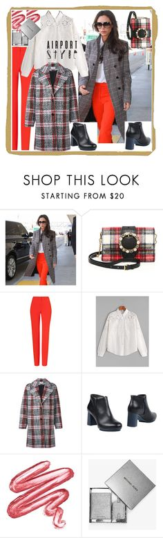"""Airport"" by archsan ❤ liked on Polyvore featuring Miu Miu, ESCADA, WithChic, Carven, Camper, Lime Crime, MICHAEL Michael Kors, celebstyle, airport and airportstyle"