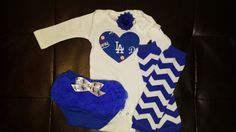 Boutique Los Angeles Dodgers Onesie Set by BonitaCouture on Etsy