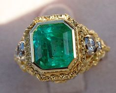 the Week - Emerald Ring Extreme Makeover Gold Emerald and Diamond RingGold Emerald and Diamond Ring Emerald Earrings, Emerald Jewelry, Jewelry Rings, Jewelery, Fine Jewelry, Extreme Makeover, Antique Jewelry, Ancient Jewelry, Bling