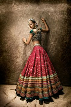 Stunning Pinkish Red Embroidered #Lehenga With Dark Green #Blouse.
