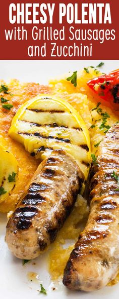 Cheesy Polenta with Grilled Sausages and Veggies! The oven makes polenta EASY an… Cheesy Polenta with Grilled Sausages and Veggies! The oven makes polenta EASY and Frigo Italian Blend makes it delicious. Sausage Recipes, Pork Recipes, Whole Food Recipes, Polenta Recipes, Shrimp Recipes, Fun Easy Recipes, Simply Recipes, Delicious Recipes, Amazing Recipes