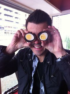 """Eggcellant!"" by Jordan Knight, taken by Joey McIntyre <3 hee! They crack me up!"