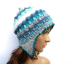 Crochet Freeform Ear-Flap Hat, made in a mixture of yarns/wool and colours. I love to make these hats, they are one of my favourite styles to