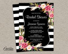 Floral Black And White Stripe Boho Chic Bridal Shower Invitation | Printable Botanical Wedding Shower Invitations With Pink Watercolor Flowers by iDesignStationery on Etsy