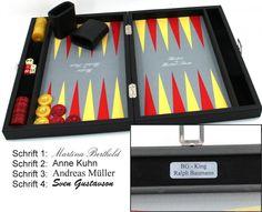 Premium Backgammon Medium Gris von Hector Saxe, Paris mit Gravur, Geschenk Idee