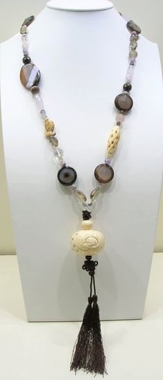 Semiprecious necklace   one of a kind by studiosixtyfive on Etsy, $120.00