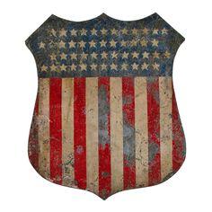 Painted American Patriotic Shield