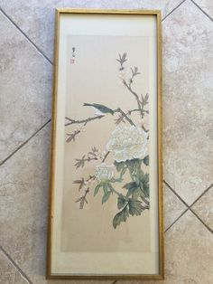 """Chinese Handpainted on Silk """"Flowers & Green Bird"""", Signed, Framed, 24"""" x 9 1/2"""""""