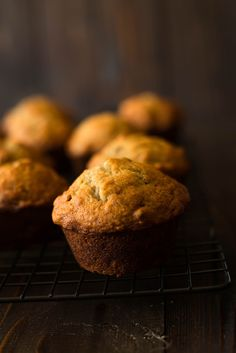 This is a pretty simple recipe for Banana Nut Muffins. The muffins come out perfect: soft and dense, filled with banana and nutty goodness.