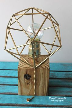 wood pallet lamp with himmeli geometric lamps shade awesome amazing easy diy tutorial (5).JPG #GeometricLamp