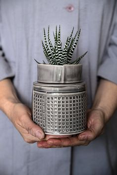 ceramic Planter, gra