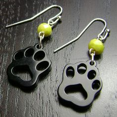 Grambling Tigers Yellow and Black Paw Print Dangle Earrings