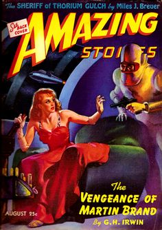Amazing Stories Aug 1942 - The Vengeance of Martin Brand, Cover art by H. W. McCauley