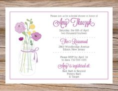 Mason Jar Flowers Bridal Shower Invitations DIY Printable PNG File Custom Pink, Purple, Yellow Rustic Country Chic on Etsy, $10.00