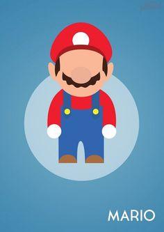 John Sideris et ses affiches minimalistes de Personnages de jeux-vidéo Game Mario Bros, Super Mario Games, Mario Run, Mario Kart, Super Mario Bros, Deco Gamer, Mario Tattoo, Gamer Humor, Classic Video Games