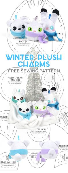 Sewing Stuffed Animals Hi everyone! In preparation for the holidays I made these super simple little plushies that work perfectly as either ornaments or charms :D You can hang them from your keys or attach them to your b… Sewing Patterns Free, Free Sewing, Sewing Tutorials, Free Pattern, Clay Tutorials, Sewing Toys, Sewing Crafts, Sewing Projects, Sewing Stuffed Animals