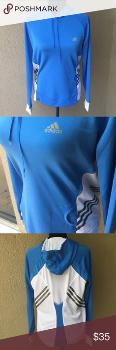 """Adidas Climacool runners sweatshirt Wow! This is brand NWOT! Has been washed which is why tags are removed - no snags, stains or holes! Thumb holes on sleeves, clima365 (Good in cold or warm weather), hooded but lightweight. Has small pocket on left front for key, MP3 player (even has small hole inside to string earbuds through so they can be worn beneath the pullover). Says large but keep in mind it's a fitted L- 20"""" Bust 24,5 length ✅I ship same or next day ✅Bundle for discount Adidas Tops…"""