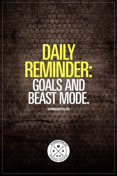 Daily reminder: Goals and beast mode.    It's easy to get lost in the daily grind. It's easy to lose focus on what you want to accomplish, your path towards your goals and how you're going to get to where you want to be. So remind yourself, every single day about your goals, and then go beast mode to crush them!  #goalcrusher #beastmodeon #dailyreminder #fitnessmotivation #gymmotivation www.gymquotes.co for all our gym and fitness quotes!
