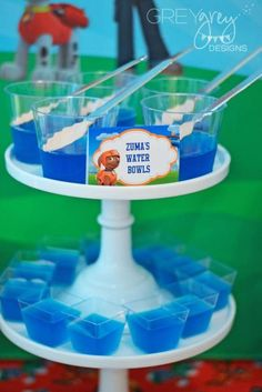 Zuma's Water Bowls. Serve blue jello to party guests - cute idea for a PAW Patrol themed birthday party!