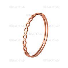 pulsera de infinito con brillo en acero rosado inoxidable -SSBTG924220