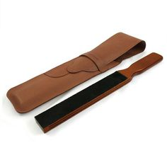 Thiers Issard Paddle Strop w Brown Baragnia Leather Case - Fendrihan - 1 Razor Strop, Camera Straps, Straight Razor, Camera Gear, Photography Camera, Camera Accessories, Paddle, Two By Two, Brown